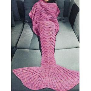 Comfortable Multicolor Knitted Throw Mermaid Tail Design Blanket For Adult