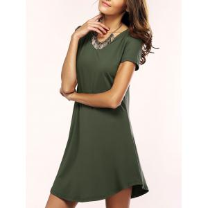 Asymmetric Shorts Sleeve Casual T-Shirt Dress - Army Green - S