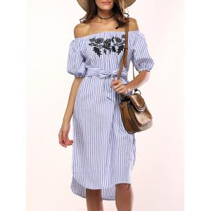 Flowers Striped Off The Shoulder Shirt Dress
