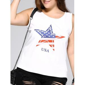 Oversized Brief Star and Letter Print Tank Top