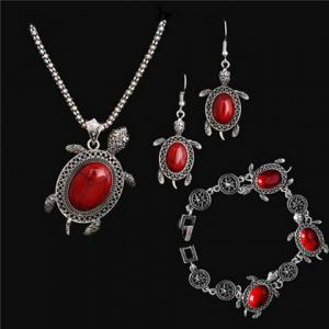 A Suit of Vintage Faux Gem Tortoise Jewelry Set - Red