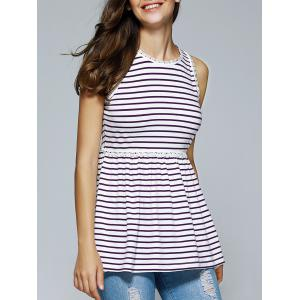 Elegant Round Neck Sleeveless Stripe  Blouse
