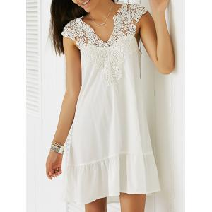 Casual Sleeveless Cut-Out Lace Splicing Flounce Dress For Women