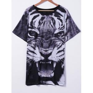 Stylish Tiger Printed T-Shirt For Women - Colormix - S