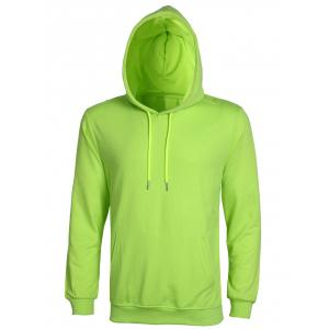 Casual Solid Color Ribbed Hem Long Sleeve Hoodie For Men - Apple Green - Xl