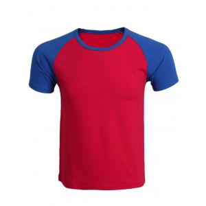 Cotton Blends Round Neck Color Block Splicing Raglan Sleeve T-Shirt For Men - Blue And Red - S