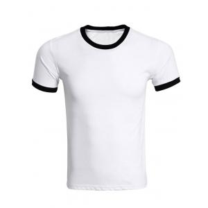 Contrast Trim Crew Neck Plain T Shirts