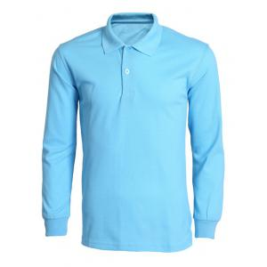 Turn-Down Collar Solid Color Long Sleeve T-Shirt For Men - Azure - Xl