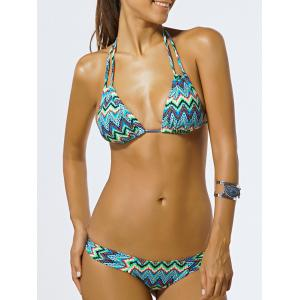 Chic Halter Push Up Zig Zag Women's Bikini Set