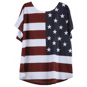 V-Neck Short Sleeve Distressed American Flag T-Shirt - BLUE AND RED 2XL