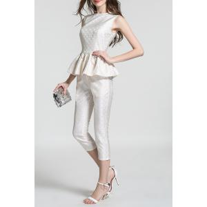Jacquard Flounce Ruffles Tank Top and Capri Pants Suit - APRICOT S