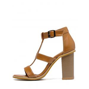 Chunky Heel Buckled Gladiator Sandals -