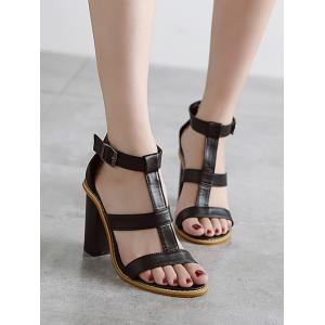 Rome T-Strap and Chunky Heel Design Sandals For Women - BLACK 38