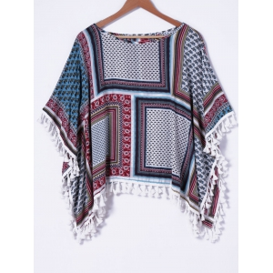 Fringed Batwing Sleeve Blouse - COLORMIX XL
