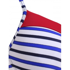 Color Block Striped Push Up Bikini Suit -