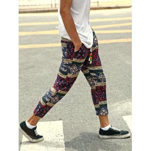 Casual Style Lace-Up Tribal Printing Slimming Narrow Feet Pants For Men -