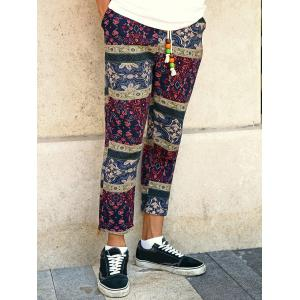 Casual Style Lace-Up Tribal Printing Slimming Narrow Feet Pants For Men - COLORMIX 5XL