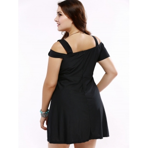 Vintage Cold Shoulder Black Flare Dress For Women -