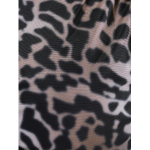 Alluring Plunging Neck Lace leopard Print Dress For Women -
