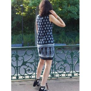 Tribal Print Sleeveless Dress For Women -