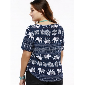 Cute Hollow Out Elephant Print T-Shirt For Women -