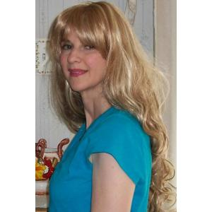 Stylish Blonde Full Bang Fluffy Curly Capless Synthetic Mixed Flax Long Wig For Women -