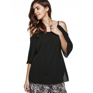 Trendy 3/4 Sleeve Cut Out Solid Color Women's Blouse -