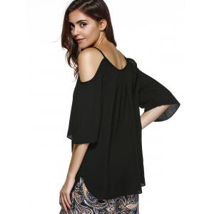 Trendy 3/4 Sleeve Cut Out Solid Color Women's Blouse - BLACK 2XL
