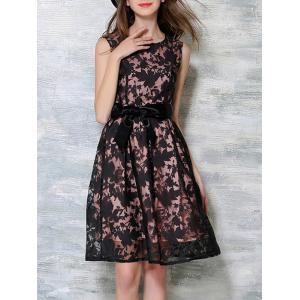 Bowknot Decorated Sleeveless Dress - BLACK AND PINK XL