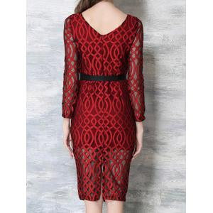 Voile Splicing 3/4 Sleeve See-Through Dress -