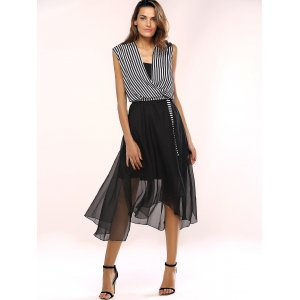 Women's Stylish Irregular Dress and Striped Top Suit -