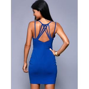 Criss-Cross Backless Zippered Dress - BLUE XL