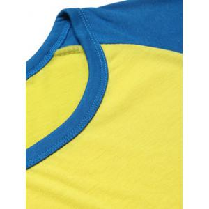 Cotton Blends Round Neck Color Block Splicing Raglan Sleeve T-Shirt For Men -