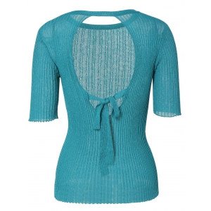 Chic Round Neck Tie-Back Solid Color Backless Women's Knitwear -