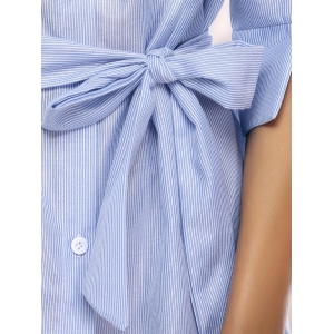 Casual 3/4 Sleeve Striped Tied Dress For Women -