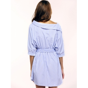 Simple Skew Neck 3/4 Sleeve Striped Dress For Women -