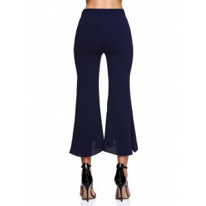 Asymmetrical Wave Waistband Side Zipper Bell-Bottoms Pants -