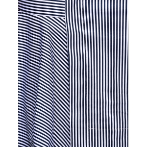 Uneven Hem Striped Midi Skirt -