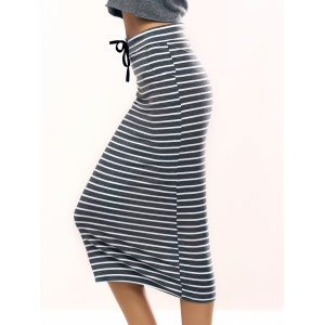 Brief Drawstring Striped Skirt For Women -