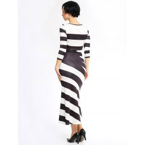 Stylish Scoop Neck 3/4 Sleeve Striped Maxi Dress -