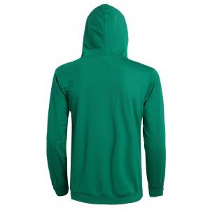 Casual Solid Color Ribbed Hem Long Sleeve Hoodie For Men - DEEP GREEN 3XL
