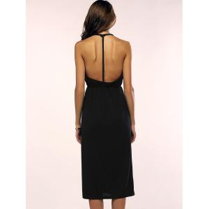 Open Back Slip Cami Midi Club Dress - BLACK S