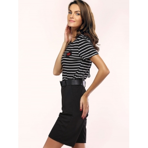 Stylish Striped Mesh Spliced T-Shirt and Belted Shorts Women's Twinset -