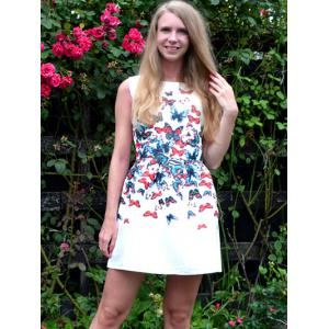 Chic Round Neck Butterfly Print Sleeveless Dress For Women -