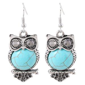 A Suit of Faux Gem Owl Necklace and Earrings - BLUE