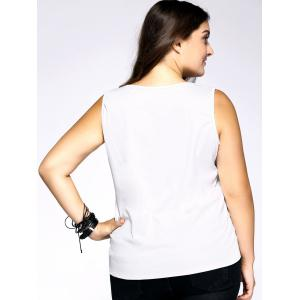 Plus Size Casual Portrait Print Tank Top - WHITE 3XL
