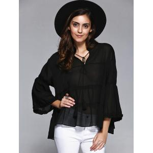 Sweet Women's Plus Size Bell Sleeves Flounced Blouse -