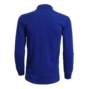 Turn-Down Collar Solid Color Long Sleeve T-Shirt For Men - SAPPHIRE BLUE 3XL