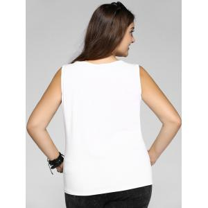 Plus Size Casual Scrawl Print Tank Top - WHITE 3XL