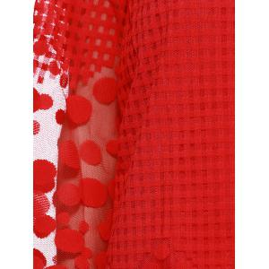 Attractive Red Plaid Spliced ​​Polka Dot Chemisier en mousseline -